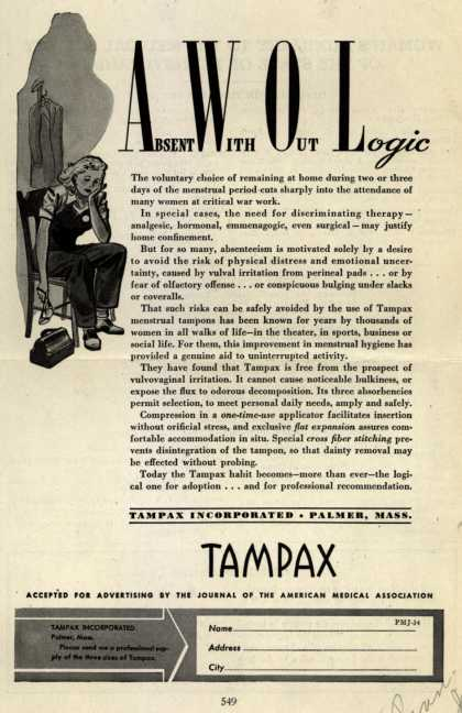 Tampax's Tampons – Absent With Out Logic (1944)