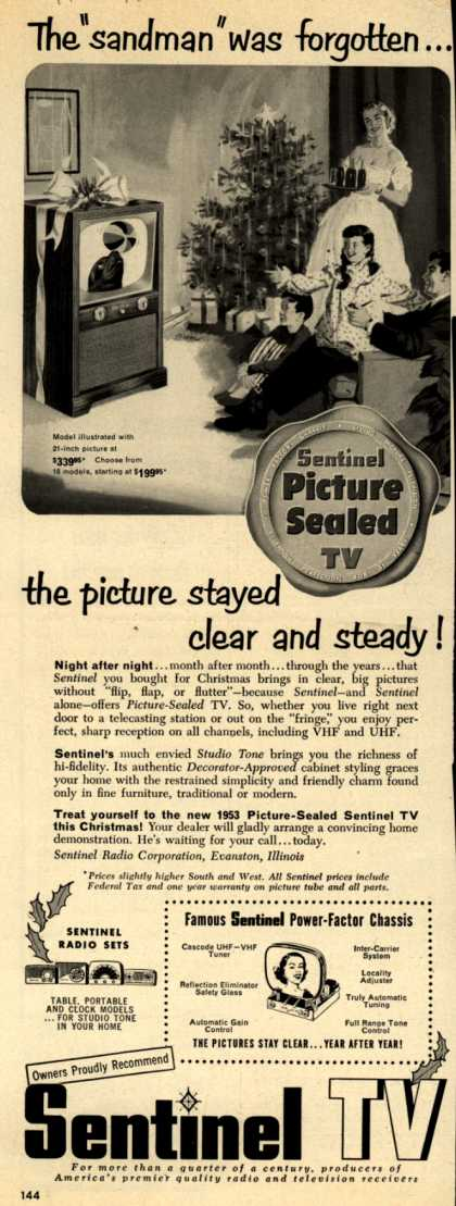 "Sentinel Radio Corporation's Television – The ""sandman"" was forgotten... the picture stayed clear and steady (1952)"