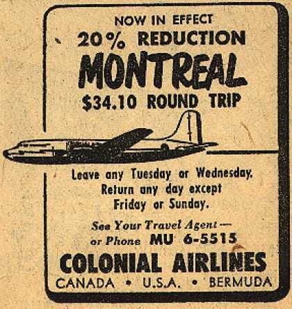 Colonial Airline's Montreal – Now in Effect 20% Reduction (1948)