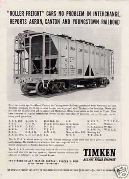 Timken Ad Akron, Canton & Youngstown Hopper Car (1948)