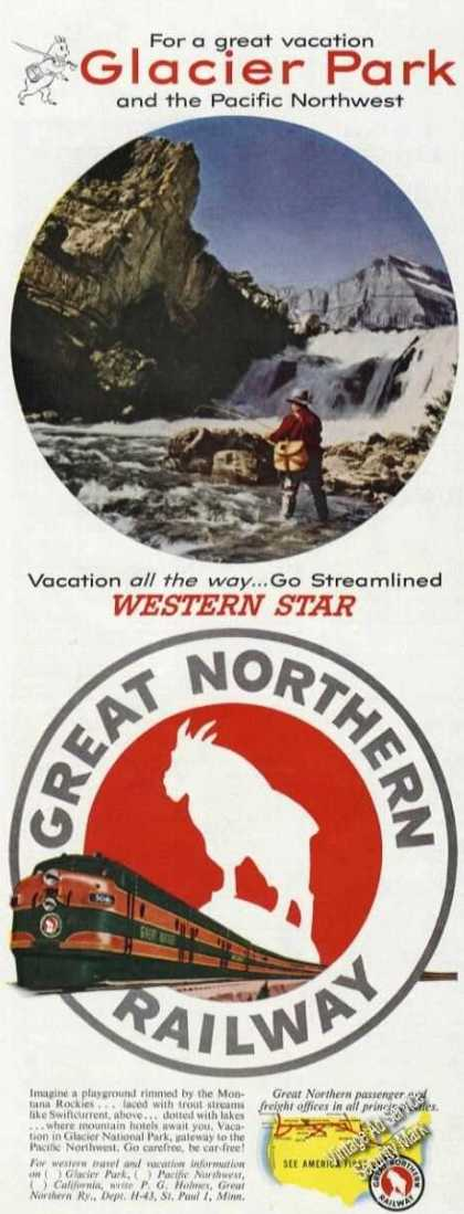 Great Northern Railway Glacier Park Rare Color (1953)