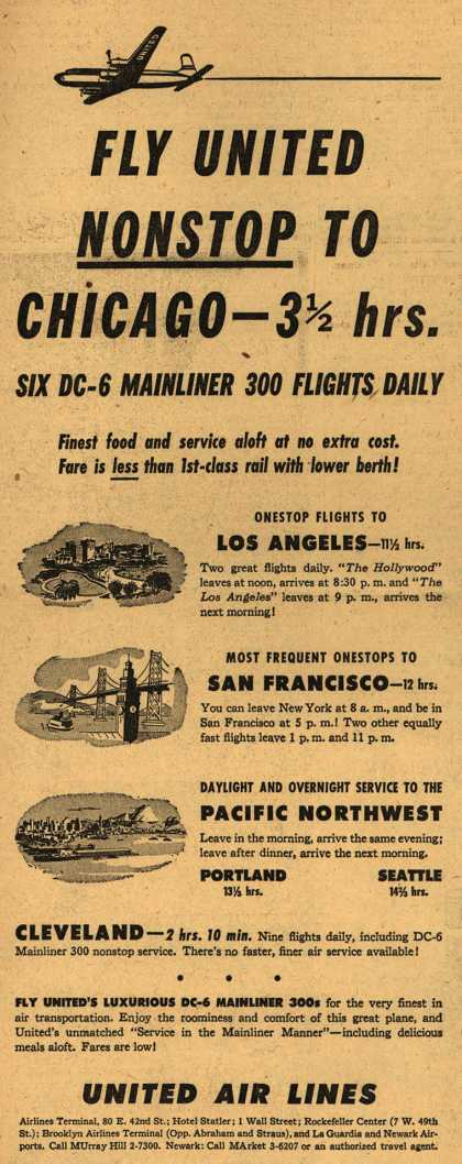 United Air Line's Chicago – Fly United Nonstop to Chicago – 3 1/2 hrs. (1950)