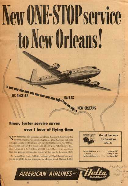 Delta Airline's Service to New Orleans – New One-Stop Service to New Orleans (1950)