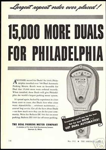 Dual Parking Meter Automatic Philadelphia (1951)