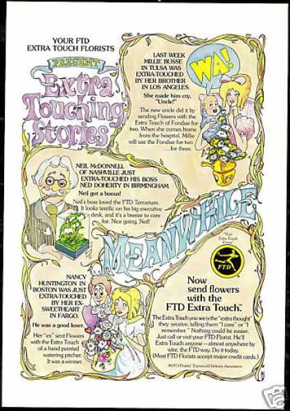 FTD Florist Flowers Touching Stories Vintage (1974)