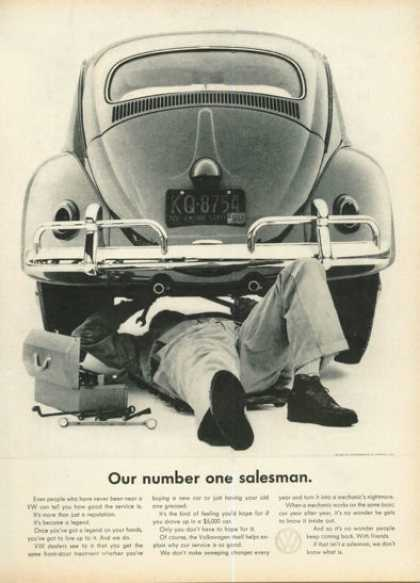 Vw Volkswagen Mechanic Ad Number One Salesman (1961)
