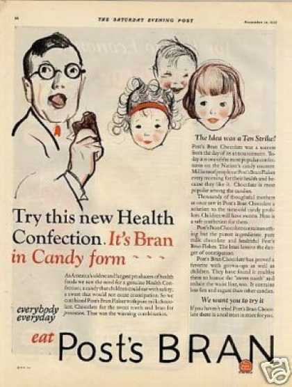 Post's Bran Chocolate Ad 2 Page (1925)