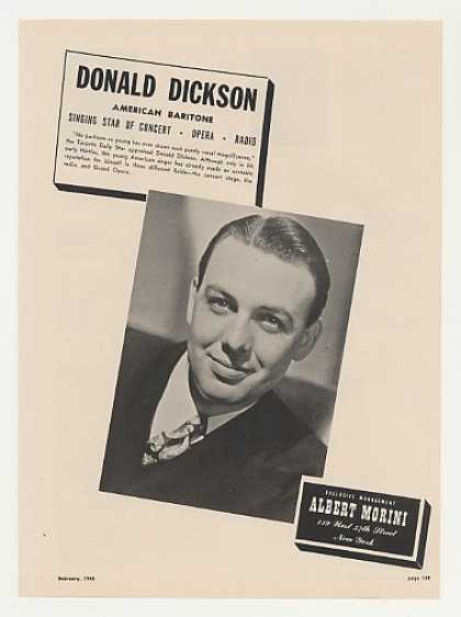 Opera Baritone Donald Dickson Photo (1948)
