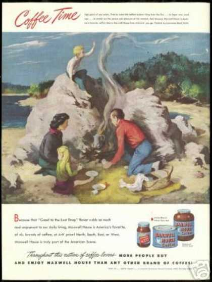Beach Family Picnic Art Maxwell House Coffee (1948)