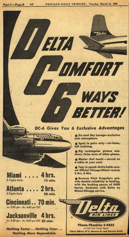 Delta Airline's DC-6 – Delta Comfort, 6 Ways Better (1950)