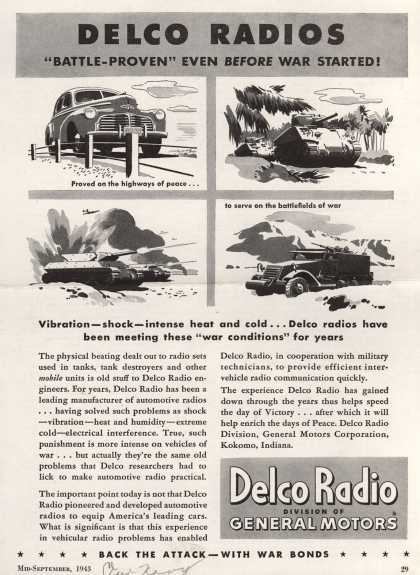 "Delco Radio's Radio – Delco Radios, ""Battle-Proven Even Before War Started (1943)"