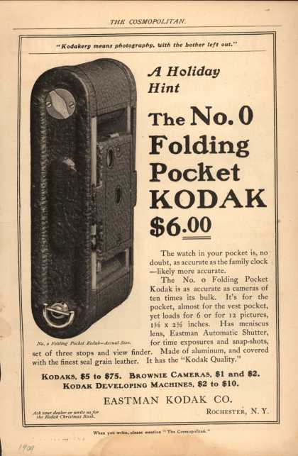 Kodak's Folding Pocket camera, No. 0 – The No. 0 Folding Pocket Kodak $6.00 (1909)