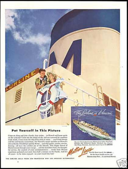Matson Lines Lurline Cruise Ship Hawaii (1953)
