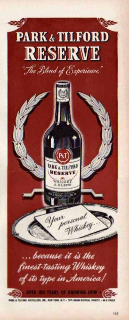 Park & Tilford Reserve Whiskey Bottle (1944)