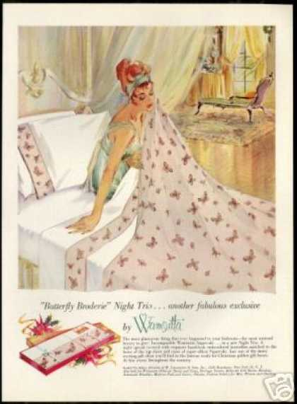 Pretty Woman Wamsutta Mills Bed Sheets (1959)