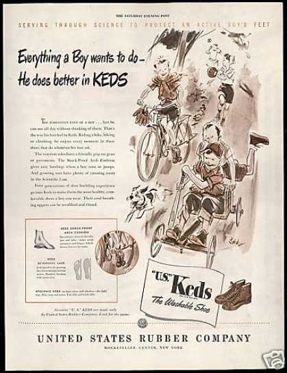 US Keds Shoes Boys Soapbox Car Bike Dog (1946)
