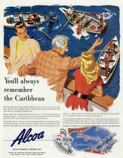 Alcoa Cruises To Caribbean Ad Art By Holmgren (1947)