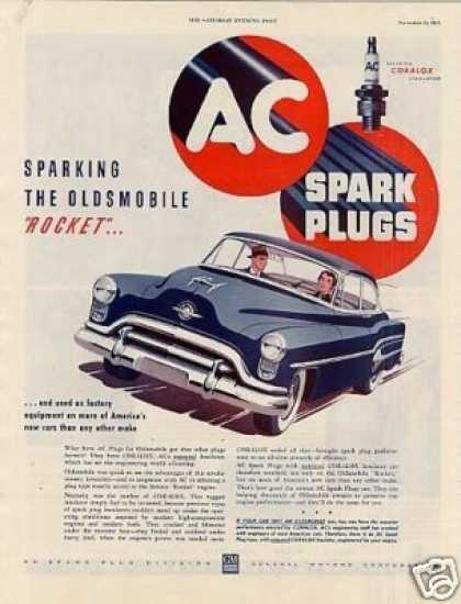 Ac Plugs Ad Oldsmobile Car (1951)