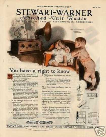 Stewart-warner Radio Color Ad Andrew Loomis Art (1926)