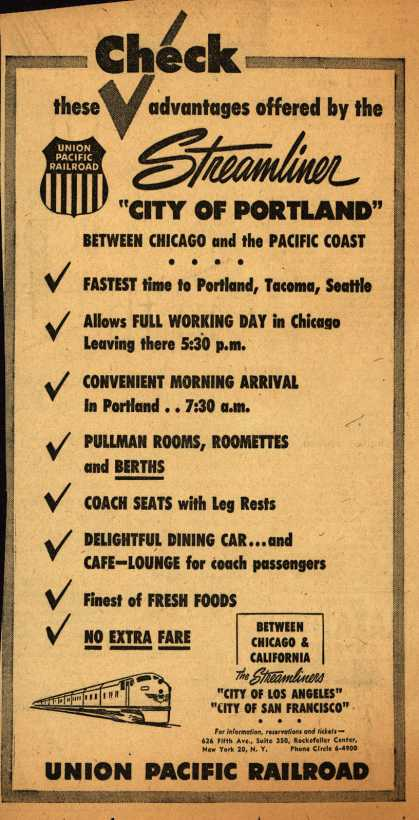 "Union Pacific Railroad's City of Portland – Check these advantages offered by the Streamliner ""City of Portland"" (1953)"