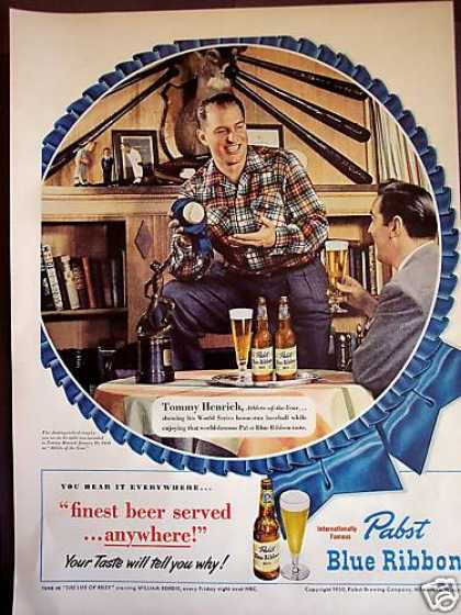 Baseball Tommy Henrich Pabst Blue Ribbon Beer (1950)