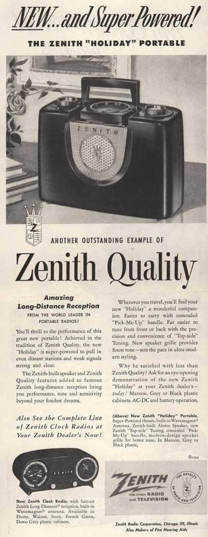 "Zenith Radio Corporation's ""Holiday"" Radio – New...and Super Powered (1952)"