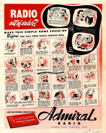 Admiral Corporation – Radio Out of Order? Make This Simple Home Check-Up Before You Call Your Radio Service Man (1943)