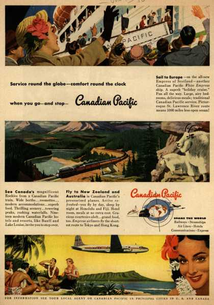 Canadian Pacific's various – Service round the globe-comfort round the clock when you go-and stop- Canadian Pacific (1950)