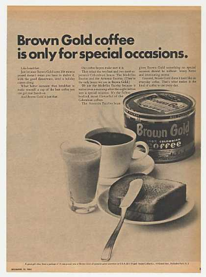 Brown Gold Coffee Can Breakfast 1965