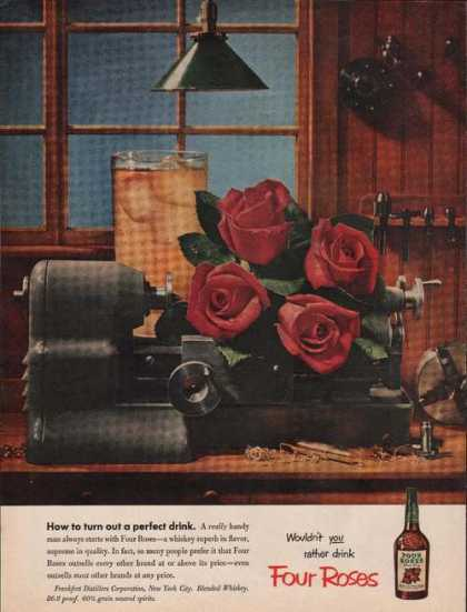 Four Roses Whiskey Superb In Flavor Print (1951)