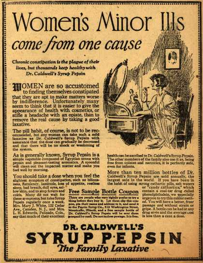 Dr. W. B. Caldwell's Syrup Pepsin – Women's minor ills come from one cause (1924)