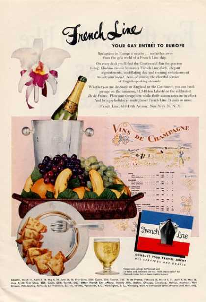 French Line Cruise Ship Menu Food Art (1952)