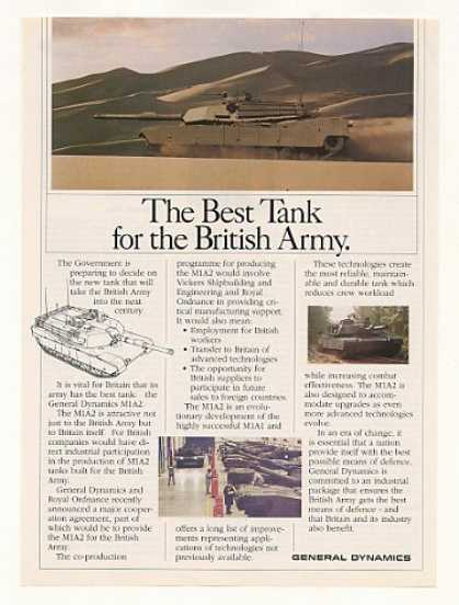 General Dynamics M1A2 British Army Tank Photo (1990)