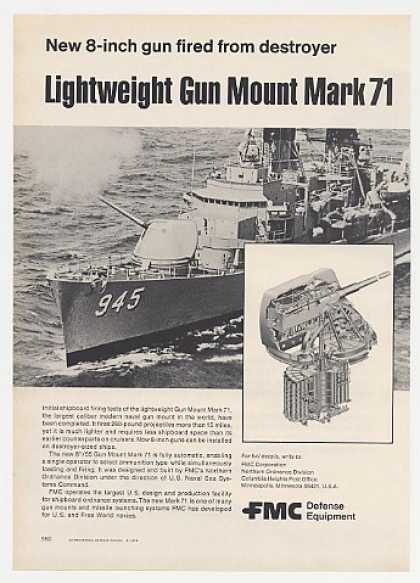 USS Hull DD-945 FMC Mark 71 Gun Mount Photo (1976)