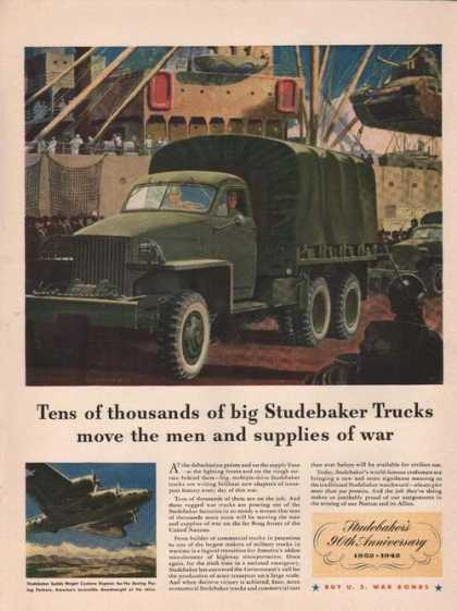 Studebaker Trucks Move Supplies of War (1942)