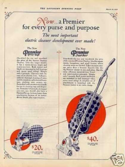 Premier Vacuum Cleaner Ad 2 Page (1928)
