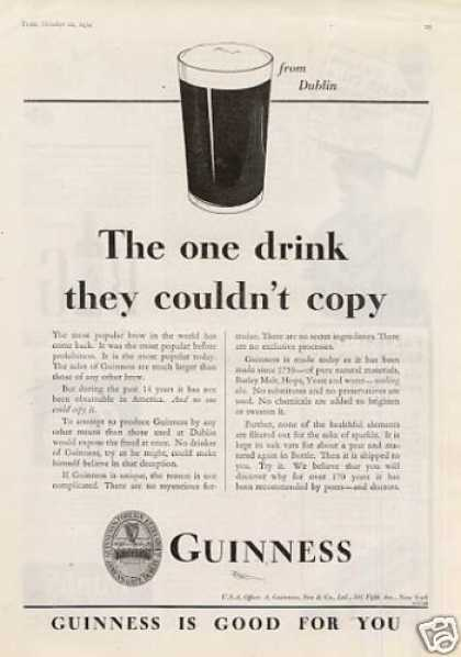 "Guinness Beer Ad ""The One Drink... (1934)"