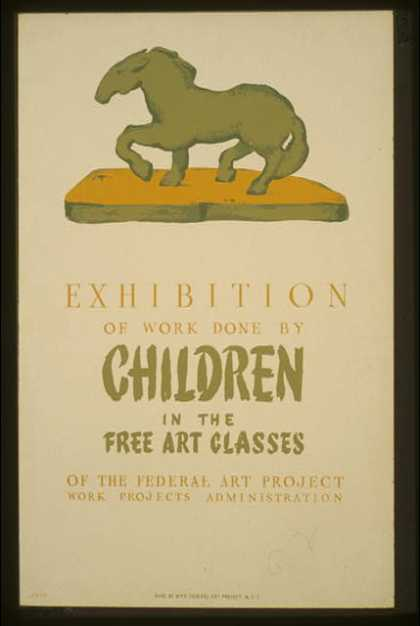 Exhibition of work done by children in the free art classes of the Federal Art Project Works Projects Administration / Greco. (1936)