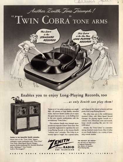 "Zenith Radio Corporation's Radio-Phonograph – Another Zenith Tone Triumph! ""Twin Cobra"" Tone Arms (1949)"