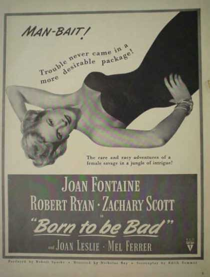 Movie Born to be Bad Joan Leslie Mel Ferrer Man Bait (1950)