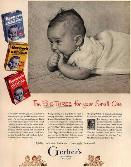 Gerber's Gerber Cereal Food, Strained Oatmeal, and Barley Cereal – The Big Three for Your Small One (1952)