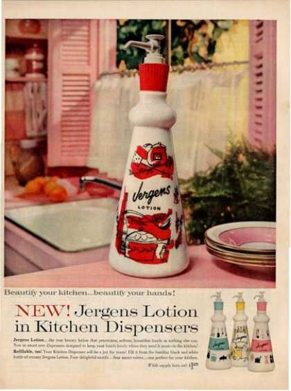 Jergens Lotion Kitchen Dispenser Ad T (1960)