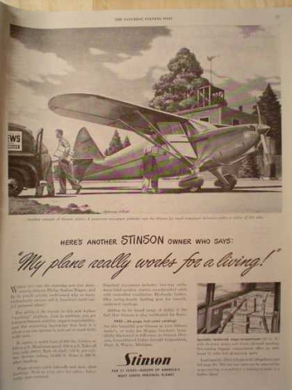 Stinson Airplane Works for a living (1947)