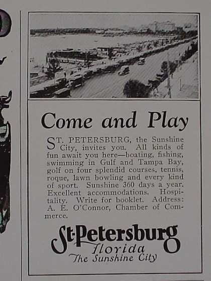 St Petersburg Florida Vacation ad The sunshine City (1926)