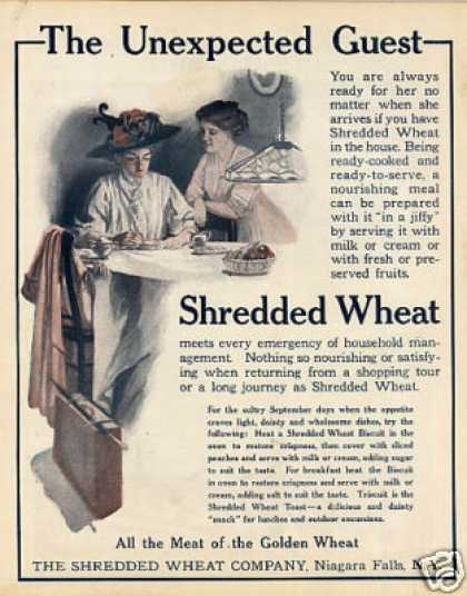 "Shredded Wheat Color Ad ""The Unexpected Guest... (1909)"