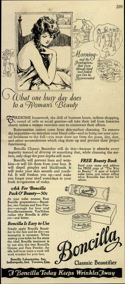 Boncilla Laboratorie's Boncilla Cosmetics – What one busy day does to a Woman's Beauty (1925)