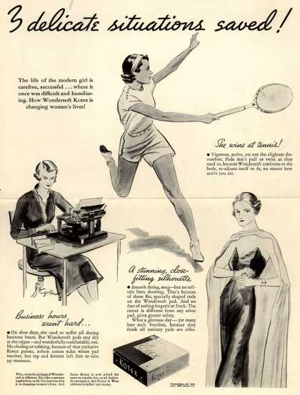 Kotex Company's Sanitary Pads – 3 delicate situations saved (1934)