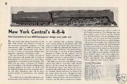 "Magazine Photo/""New York Central's 4-8-4""/niagara (1945)"