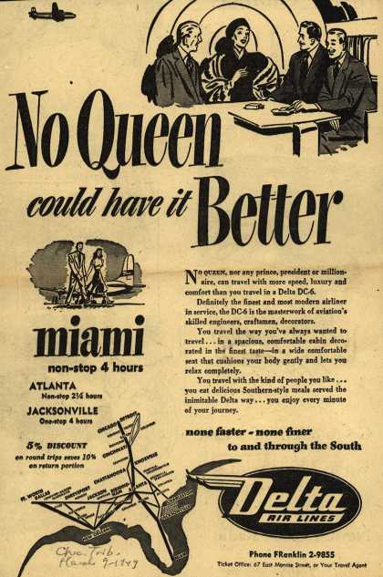 Delta Airline's Delta Air Lines – No Queen could have it Better (1949)