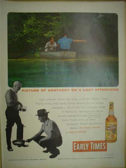 Early Times Whiskey. Picture of Kentucky on a lazy afternoon (1955)
